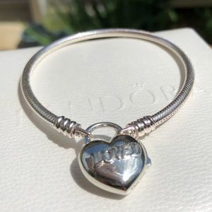Pandora You Are Loved Heart Padlock Bracelet